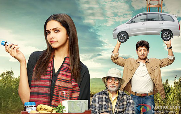 Deepika Padukone, Amitabh Bachchan and Irrfan Khan in a still from 'Piku' movie  poster