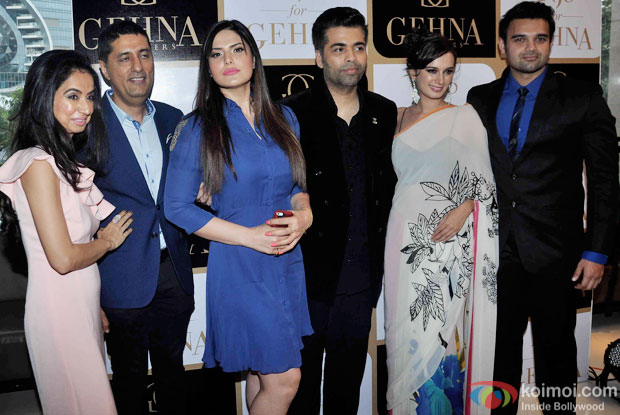 Zarine Khan, Evelyn Sharma And Mahaakshay Chakraborty During The Launch Of Karan Johar's Limited Edition Holiday Line For Gehna Jewellers