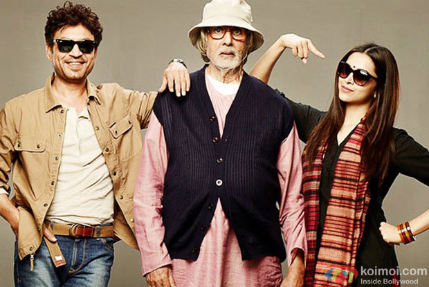 Irrfan Khan, Amitabh Bachchan and Deepika Padukone in a still from movie 'Piku'