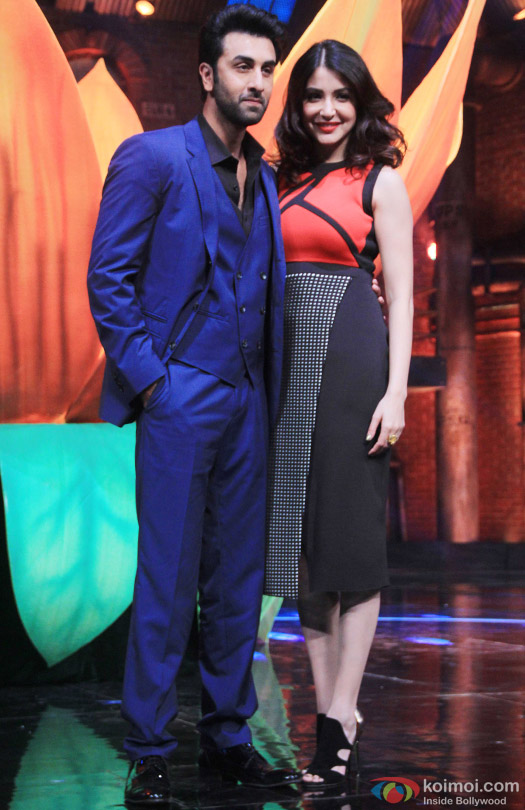 Ranbir Kapoor and Anushka Sharma during the promotion of movie 'Bombay Velvet' on the sets of 'India's Got Talent 2015'