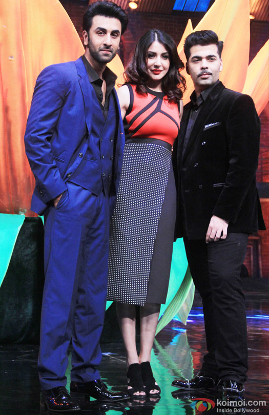 Ranbir Kapoor, Anushka Sharma and Karan Johar during the promotion of movie 'Bombay Velvet' on the sets of 'India's Got Talent 2015'