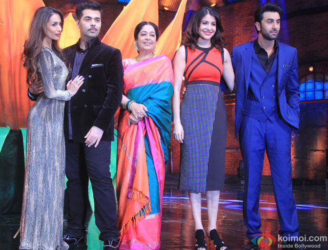 Malaika Arora Khan, Karan Johar, Kirron Kher, Anushka Sharma and Ranbir Kapoor during the promotion of movie 'Bombay Velvet' on the sets of 'India's Got Talent 2015'