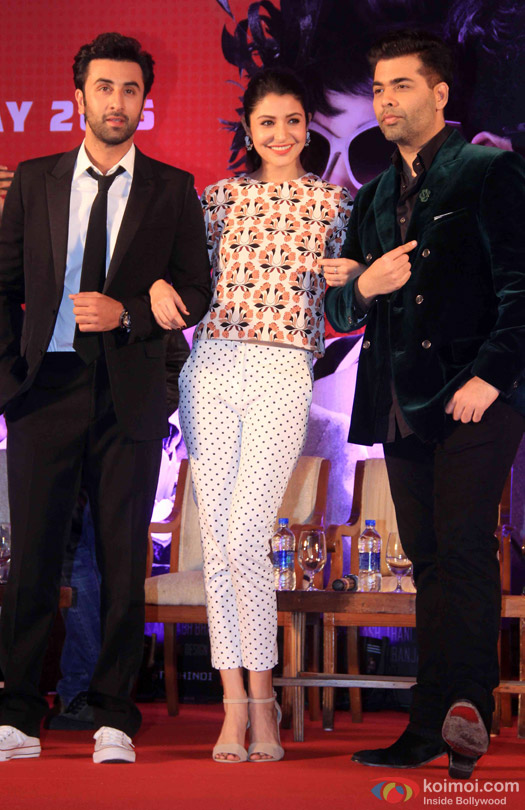 Ranbir Kapoor, Anushka Sharma and Karan Johar during the launch of second trailer of movie 'Bombay Velvet'