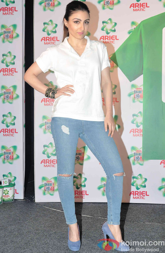 Soha Ali Khan during the launch of Ariel Men and Women Wash Care Label