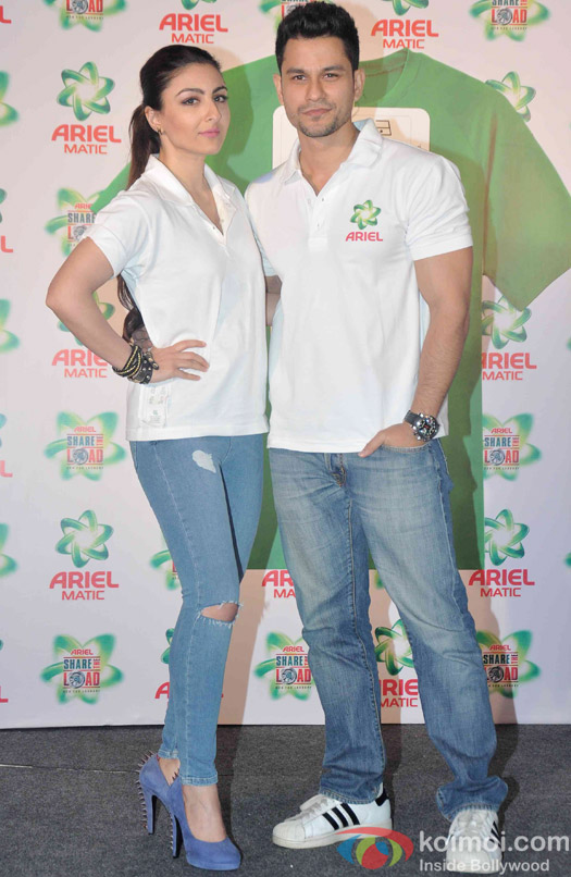 Soha Ali Khan and Kunal Khemu during the launch of Ariel Men and Women Wash Care Label