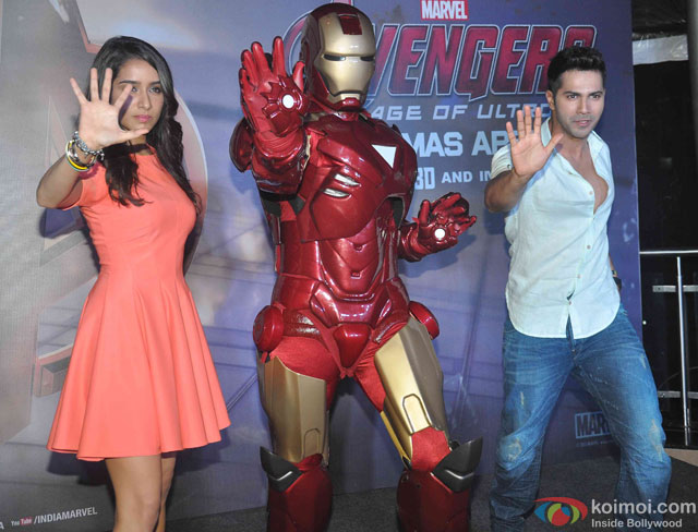 Shraddha Kapoor and Varun Dhawan during the special screening of movie 'Avengers: Age of Ultron'