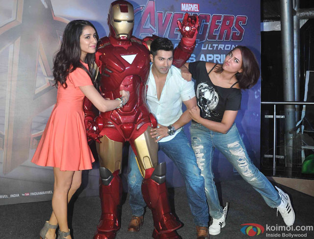 Shraddha Kapoor, Varun Dhawan and Sonakshi Sinha during the special screening of movie 'Avengers: Age of Ultron'