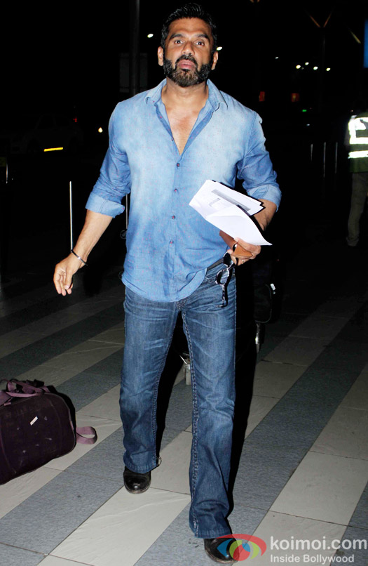 Sunil Shetty Snapped At Domestic Airport Mumbai
