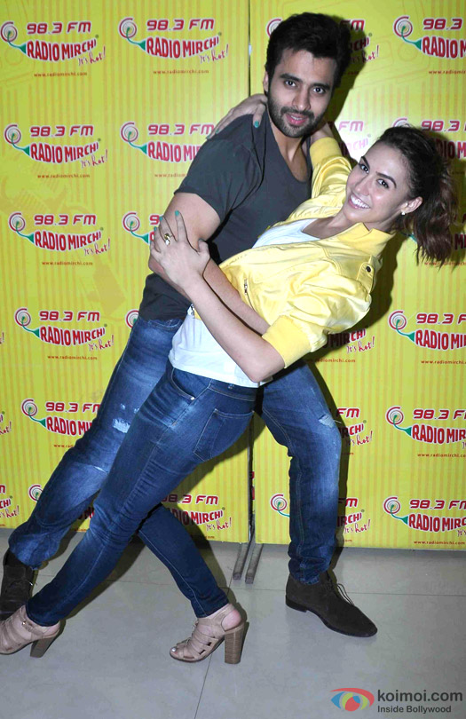 Jackky Bhagnani and Lauren Gottlieb during the promotion of movie 'Welcome To Karachi' at Radio Mirchi
