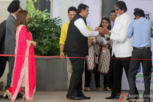 Nita Ambani, Sachin Tendulkar, Devendra Fadnavis and Amitabh Bachchan during the inauguration of JIO Garden