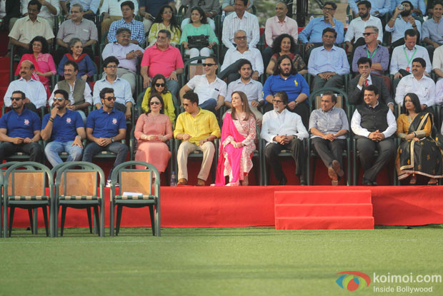 John Abraham, Abhishek Bachchan, Rajkumar Hirani, Ranbir Kapoor, Anjali Tendulkar, Sachin Tendulkar, Vidhu Vinod Chopra, Nita Ambani, Amitabh Bachchan, Akash Ambani, Mukesh Ambani, Devendra Fadnavis and Amruta Fadnavis during the inauguration of JIO Garden