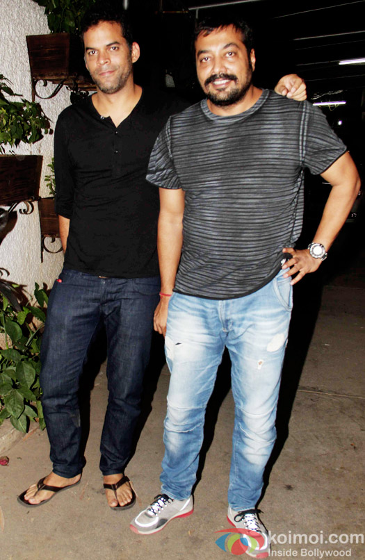 Vikramaditya Motwane and Anurag Kashyap during the special screening of Bombay Velvet at Sunny Super Sound