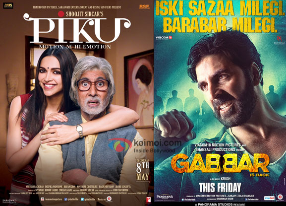'Piku' and 'Gabbar Is Back' movie posters