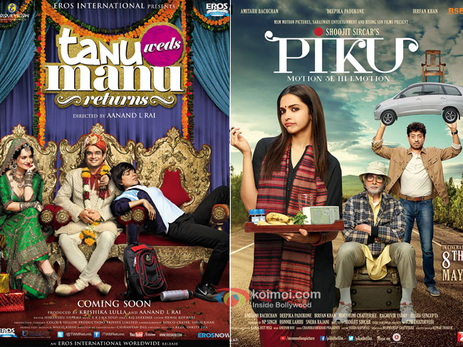 Tanu weds Manu Returns and Piku Movie Poster