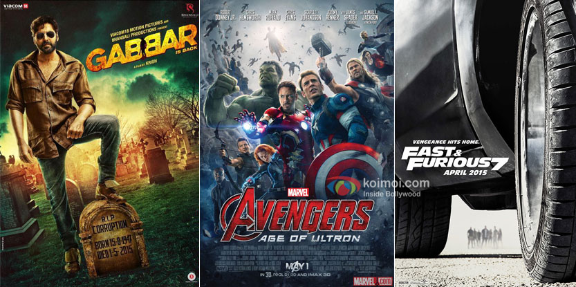 Gabbar Is Back, Avengers: Age Of Ultron and Fast & Furious 7 movie posters