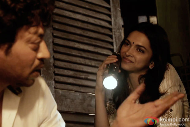 Irrfan Khan and Deepika Padukone in a still from movie 'Piku'