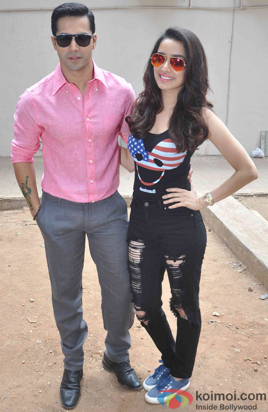 Varun Dhawan and Shraddha Kapoor  during the Promotion of ABCD 2 at Mehboob studio
