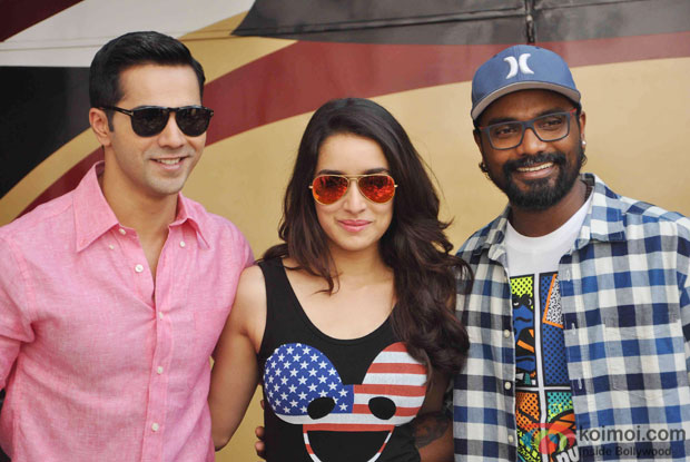 Varun Dhawan, Shraddha Kapoor and Remo D'souza during the Promotion of ABCD 2 at Mehboob studio