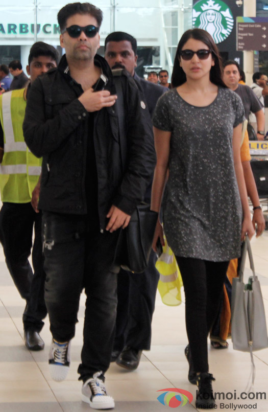 Karan Johar and Anushka Sharma At Domestic Airport