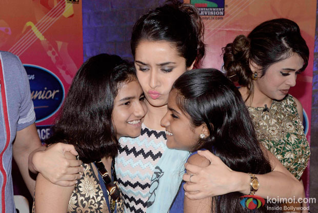 Shraddha Kapoor and Shalmali Kholgade during the promotion of ABCD2 At Auditions Of Indian Idol Junior 2