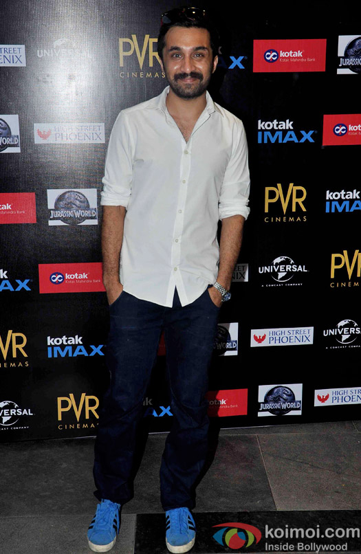 Siddhanth Kapoor during the premiere of movie Jurassic World