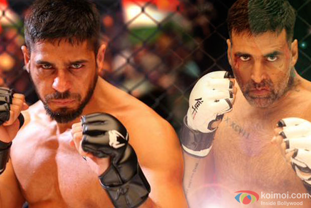 Sidharth Malhotra and Akshay in a still from movie 'Brothers'