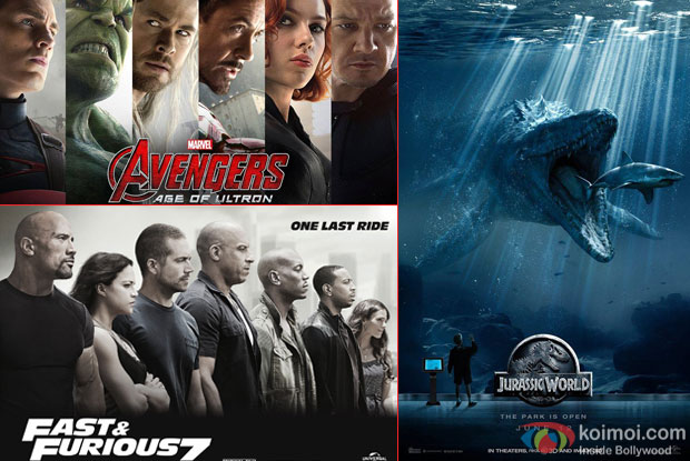 Avengers Age Of Ultron, Fast And Furious 7 and Jurassic World movie posters