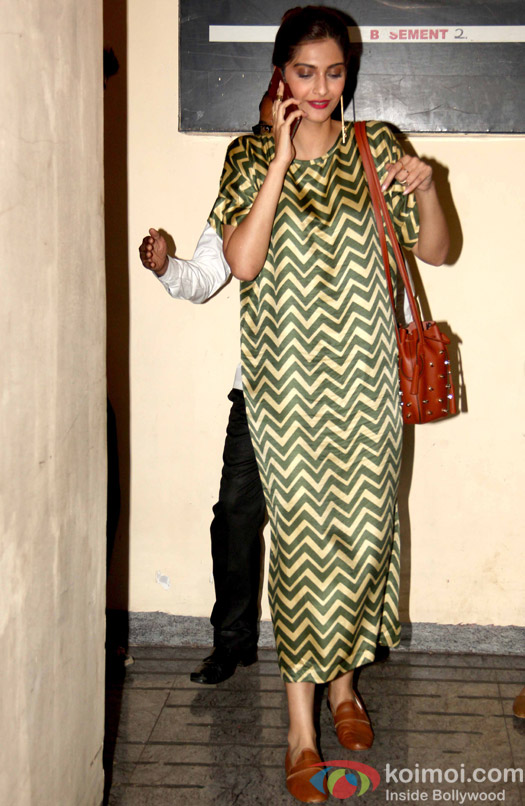 Sonam Kapoor Snapped In A Chevron Print Maxi Dress At PVR