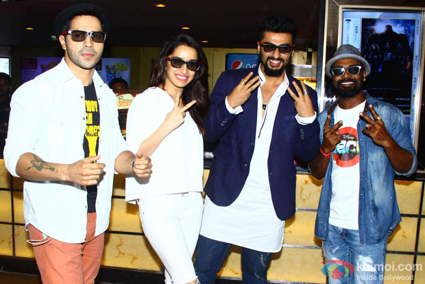 Varun Dhawan, Shraddha Kapoor, Arjun Kapoor and Remo DSouza during the special secreening of movie 'ABCD 2'