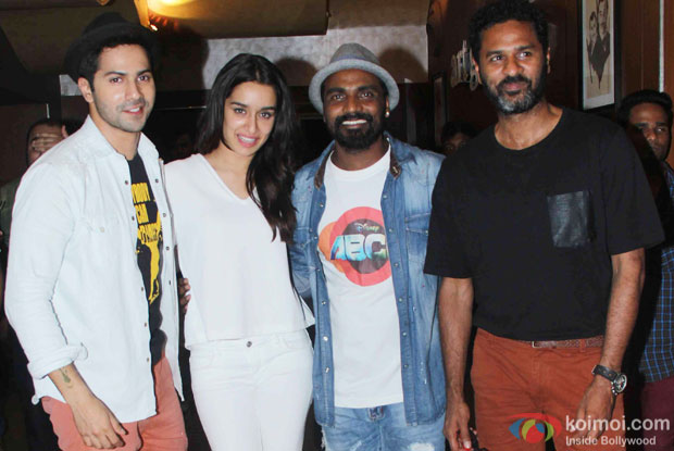 Varun Dhawan, Shraddha Kapoor, Remo DSouza and Prabhu Dheva during the special secreening of movie 'ABCD 2'