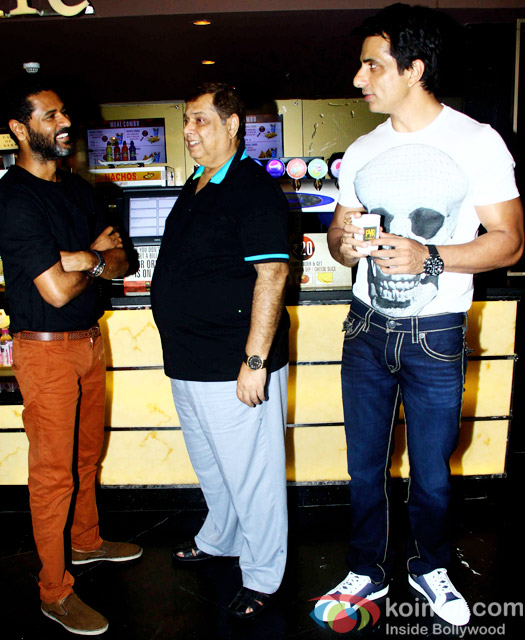 Prabhu Dheva, David Dhawan and Sonu Sood during the special secreening of movie 'ABCD 2'