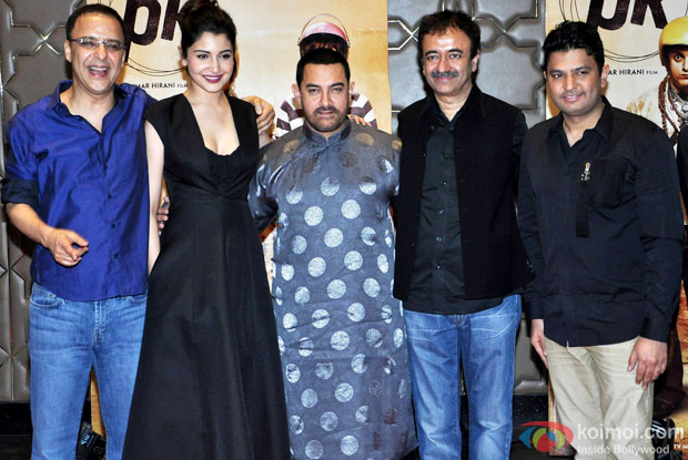 Vidhu Vinod Chopra, Anushka Sharma,  Aamir Khan, Rajkumar Hirani and Bhushan Kumar during the success party of movie 'PK'