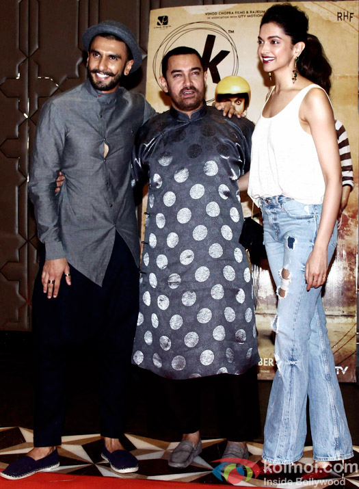 Ranveer Singh, Aamir Khan and Deepika Padukone during the success party of movie 'PK'