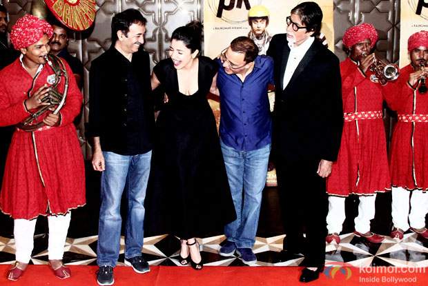 Rajkumar Hirani, Anushka Sharma, Vidhu Vinod Chopra and Amitabh Bachchan during the success party of movie 'PK'