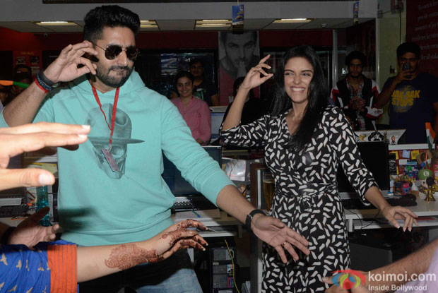 Abhishekh Bachchan and Asin at fever 104 FM Studio