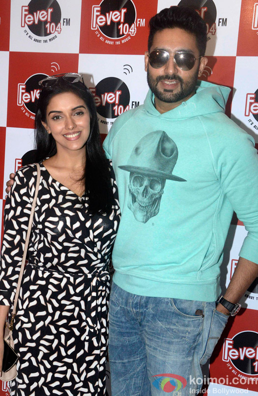 Asin and Abhishekh Bachchan at fever 104 FM Studio