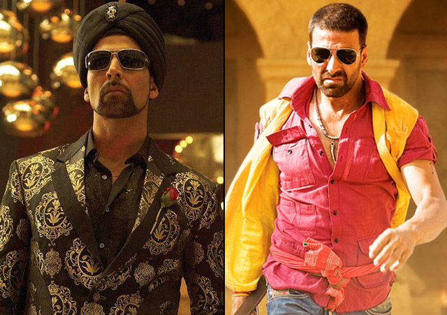 Akshay Kumar in a still from movie Singh Is Kinng (2008) and Tashan (2008)