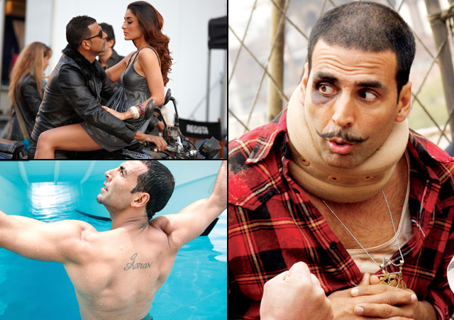 Akshay Kumar in a still from movie Kambakkht Ishq (2009), Blue (2009) and Chandni Chowk to China (2009)