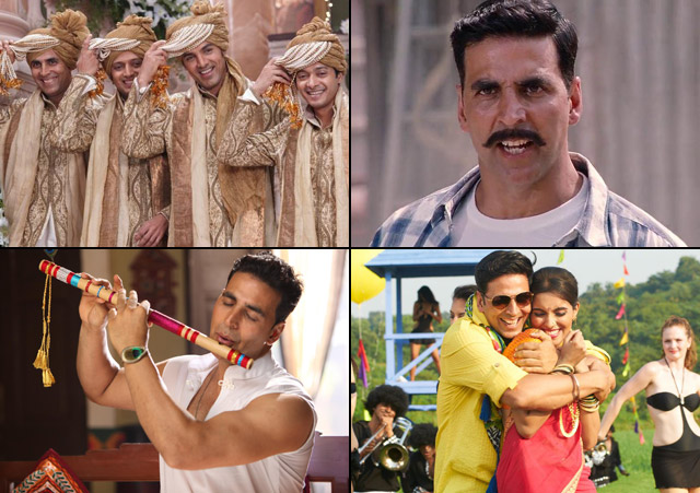 Akshay Kumar in a still from movie Housefull 2 (2012), Rowdy Rathore (2012), OMG – Oh My God! (2012) and Khiladi 786 (2012)