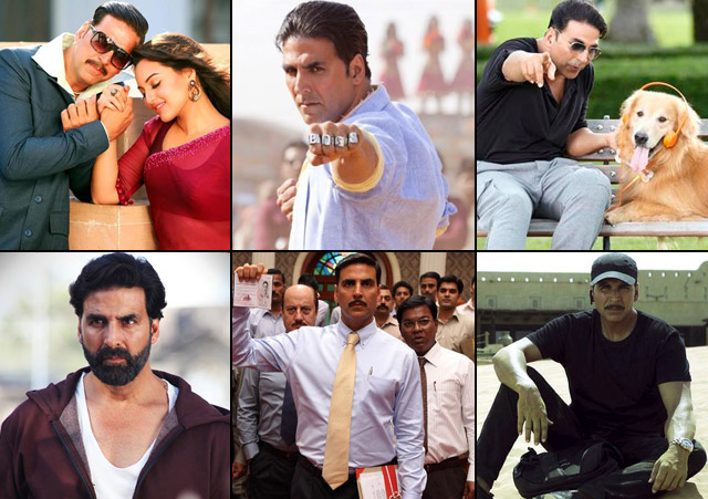 Akshay Kumar in a still from movie Once Upon ay Time in Mumbai Dobaara! (2013), Boss (2013), Entertainment (2014), Gabbar Is Back (2015), Special 26 (2013) and Baby (2015)