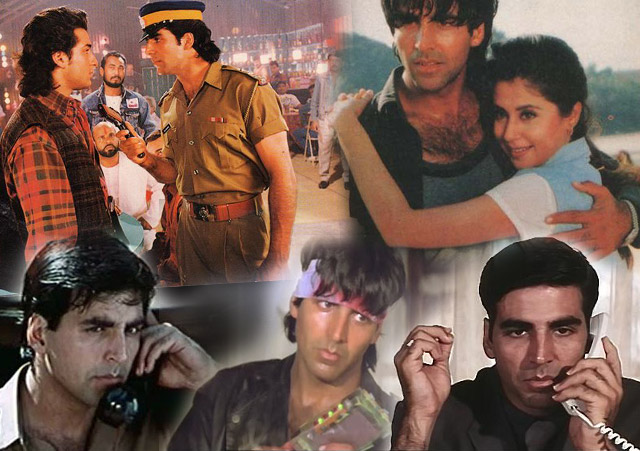 Akshay Kumar in a still from movie Tarazu (1997), Aflatoon (1997), Keemat – They Are Back (1998), Barood (1998) and International Khiladi (1999)