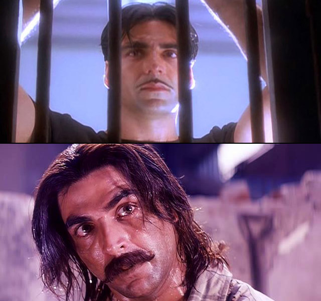 Akshay Kumar in a still from movie Sangharsh (1999) and Jaanwar (1999)