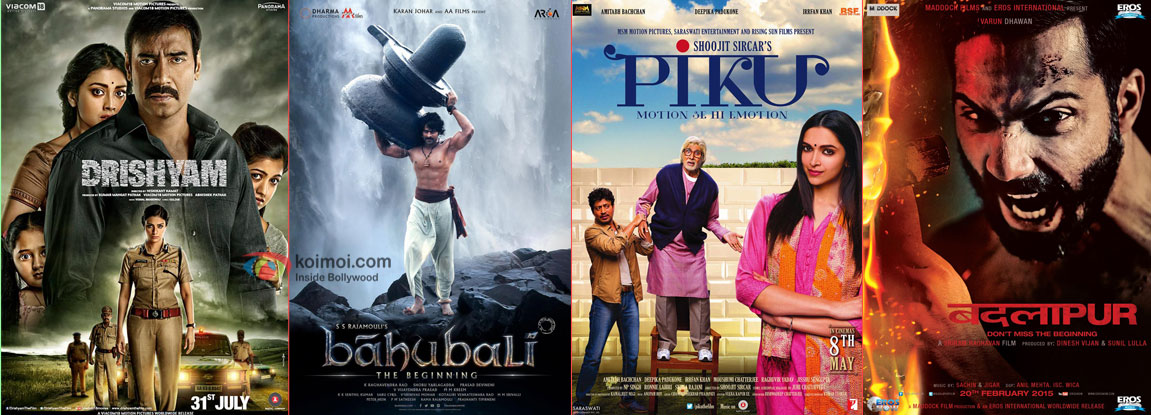 Drishyam, Bahubali, Piku and Badlapur movie posters