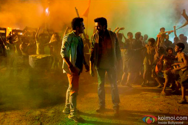 Pulkit Samrat and Riteish Deshmukh in a still from movie 'Bangistan'