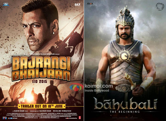 Bajrangi Bhaijaan and Bahubali movie posters
