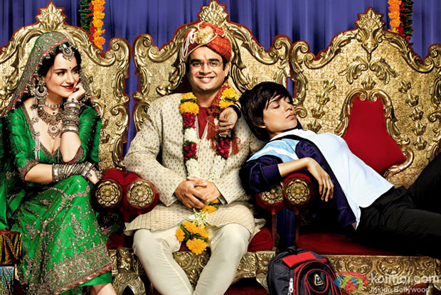 Kangana Ranaut and R. Madhavan in a 'Tanu Weds Manu Returns' movie poster