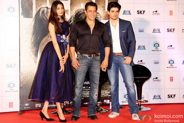 Athiya Shetty, Salman Khan and Sooraj Pancholi during the first look launch of movie 'Hero'