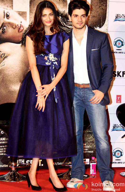 Athiya Shetty and Sooraj Pancholi during the first look launch of movie 'Hero'