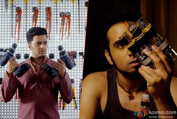Riteish Deshmukh and Pulkit Samrat in a still from movie 'Bangistan'
