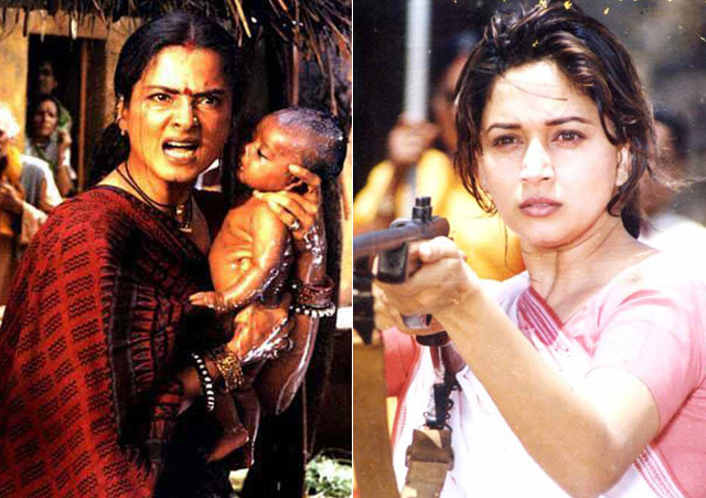 Rekha in a still from movie 'Lajja' and Madhuri Dixit in a still from movie 'Mrityudand'